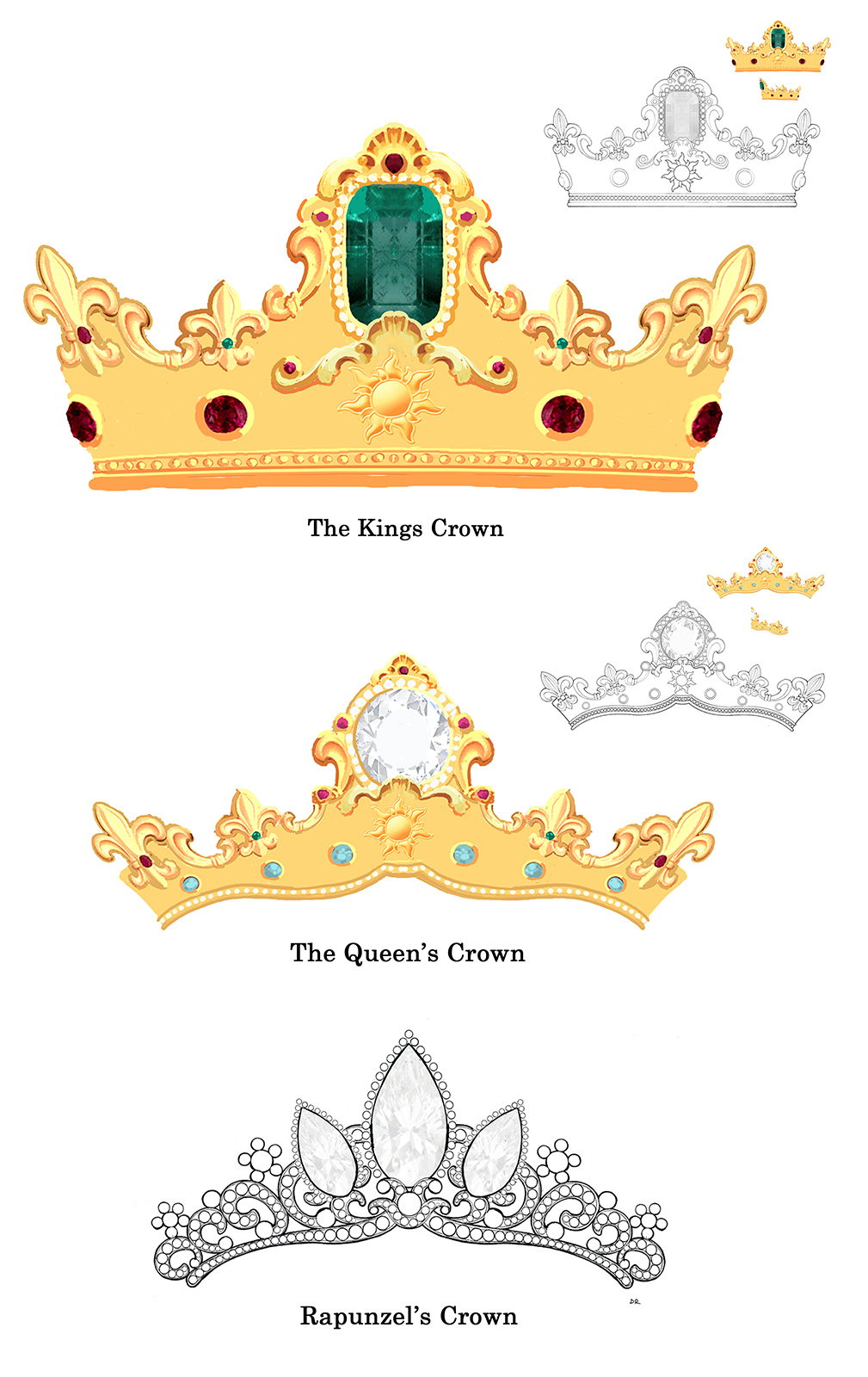 The Kings Crown, The Queen's Crown, Rapunzel's Crown