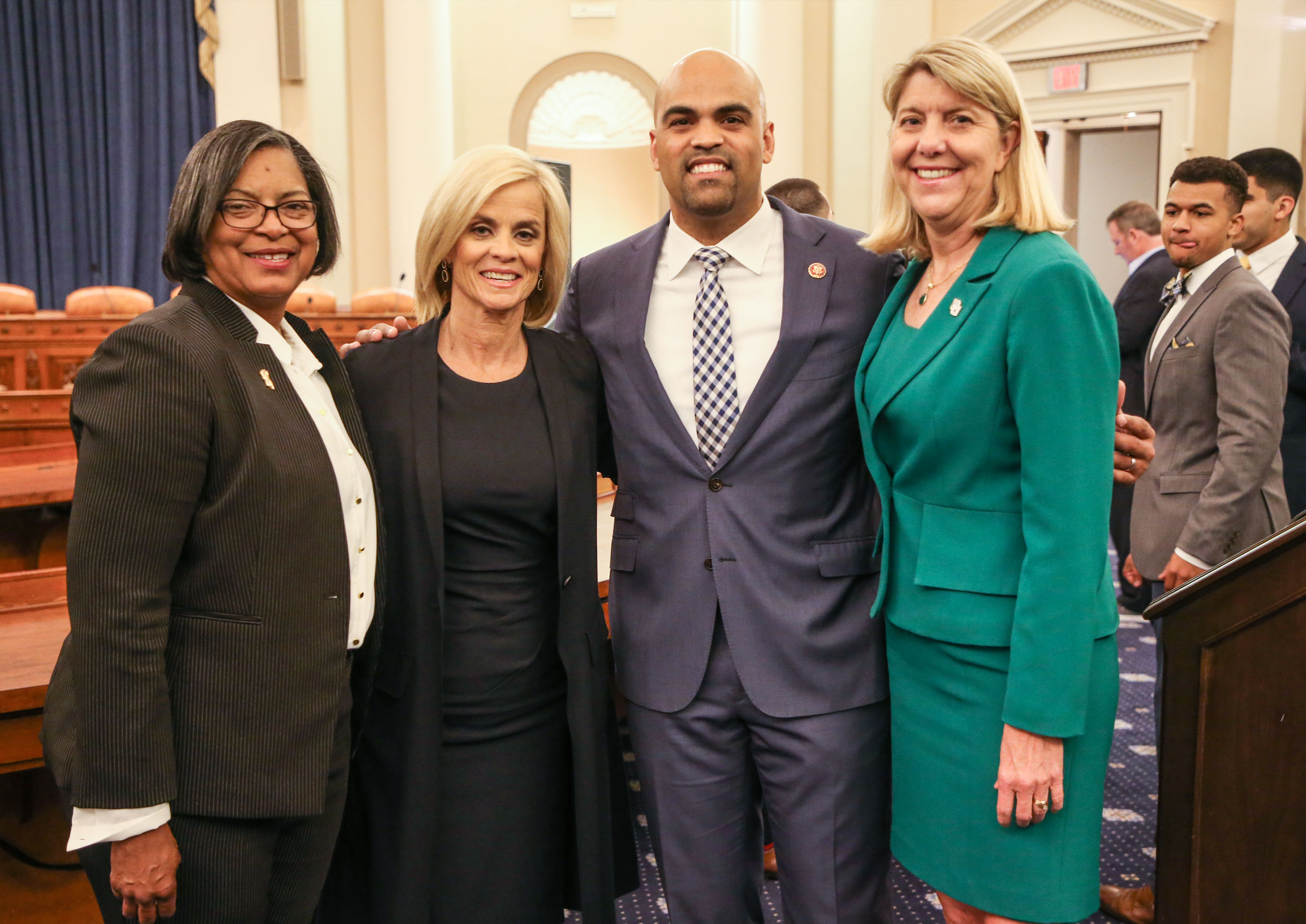 A Baylor contingent met together during the Lady Bears' visit to Washington, D.C., in April. From left: Rochonda Farmer-Neal, MA '93, director of Baylor's Office of Government Relations; Coach Kim Mulkey; U.S. Representative Collin Allred, BA '06; and Baylor President Linda A. Livingstone, Ph.D.