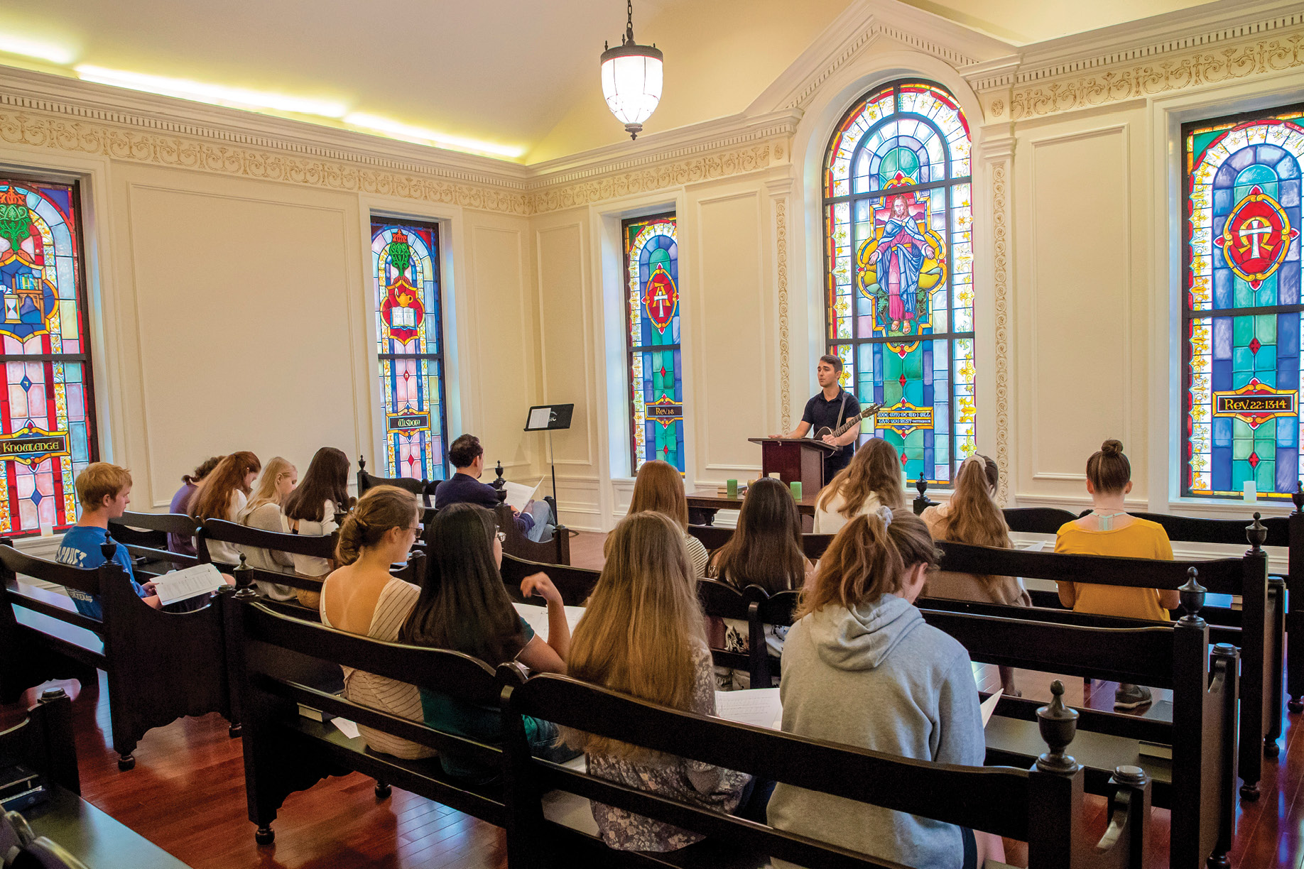 Students gather for Chapel Prayers in Memorial Chapel
