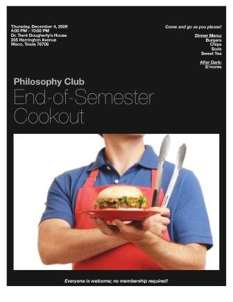 Philosophy Club Cookout - Dr. Dougherty\'s Crib (Dec 4)