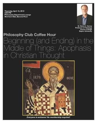 Philosophy Club - April 15 - Barry Harvey