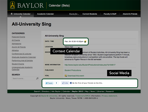 New Baylor Calendar - Event Display
