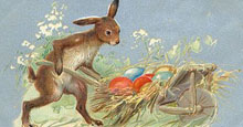 easter rabbit and eggs in cart