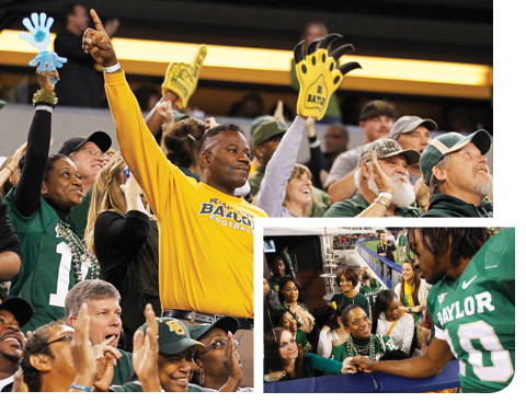 collage of student fans in stands and RGIII shaking their hands