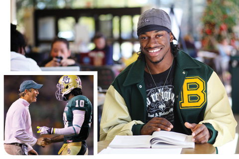 Collage of Robert Griffin III photos from when he was a student