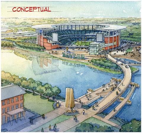 Conceptual drawing of New Baylor Stadium