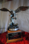 Flying eagle on stand, pewter w/silver and gold finish, Greater Waco Chamber of Commerce