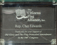 Glass award, Citizens Flag Alliance, 108th Congress