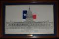Drawing of TX State Capitol Bldg. with description and TX Rep. Flag in background, framed
