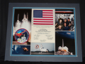 Collage with photos of NASA crew, patch with crew member names