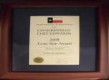 2008 Lone Star Award, framed