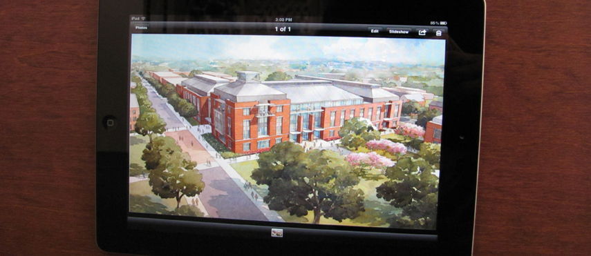 iPad image of architectural rendering of Paul L. Foster campus