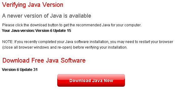 Outdated Java Page