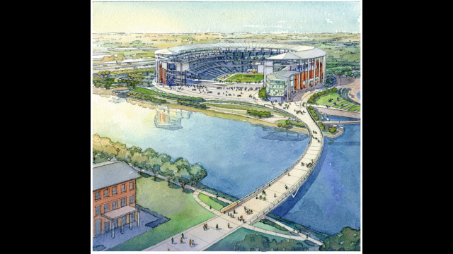 Artist's Rendering, Bridge View, Proposed Baylor Stadium