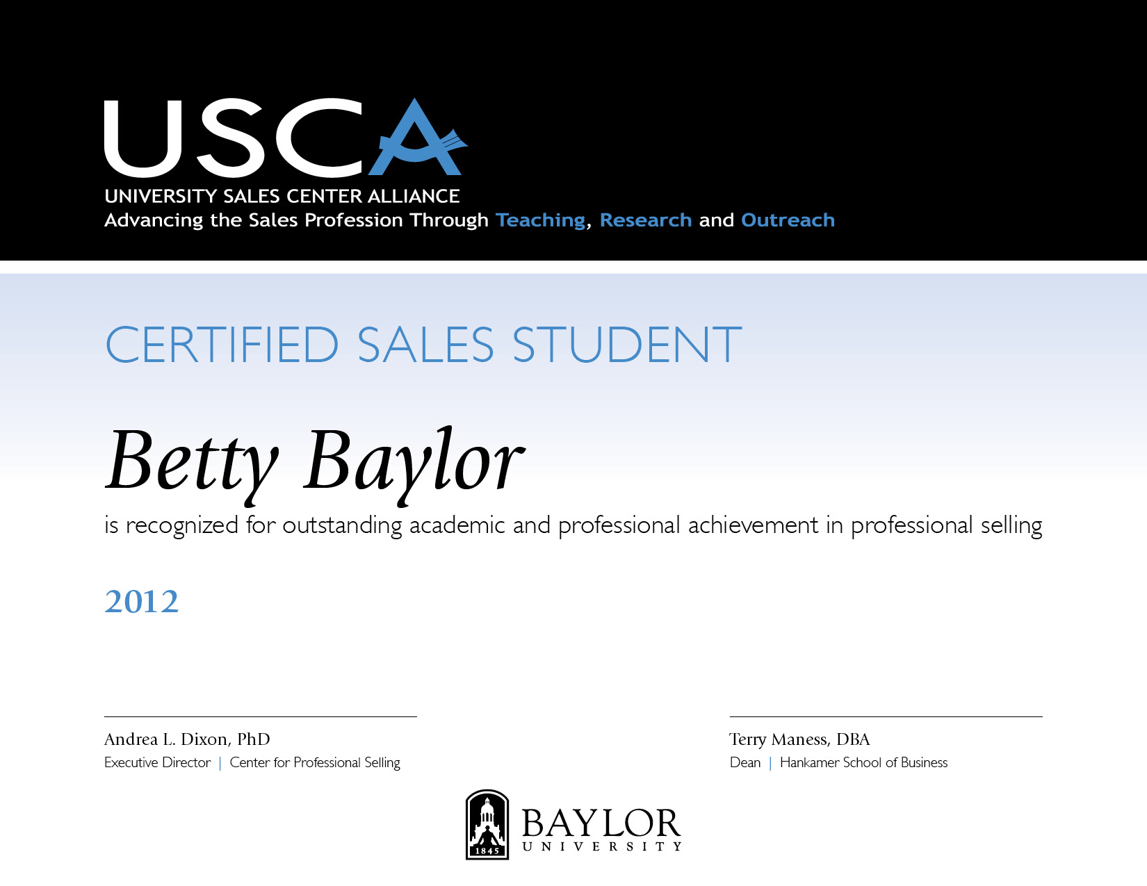 Certified sales student css center for professional selling css certificate xflitez Images