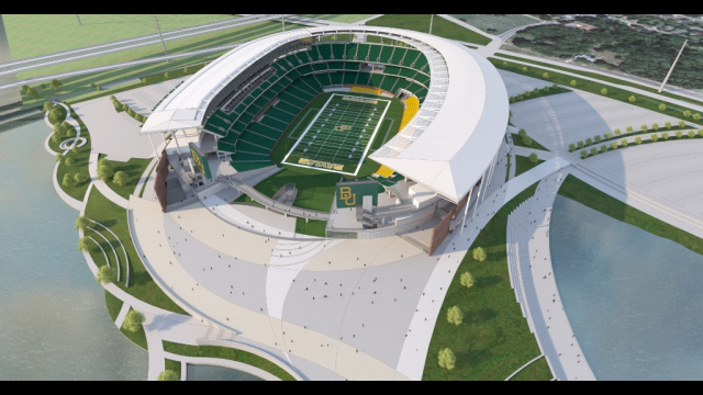 Baylor Stadium Rendering - Close Aerial View