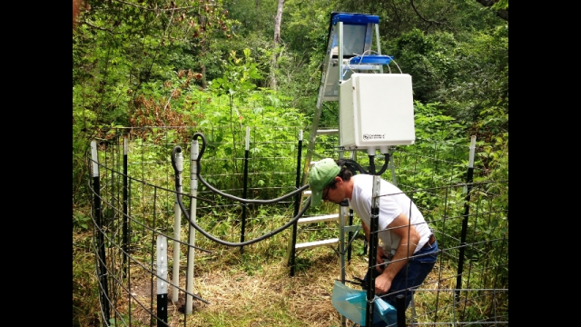 Researchers install sensors at research site