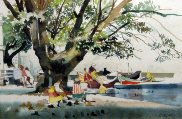 Dong Kingman, Tree, Boats, Cats.