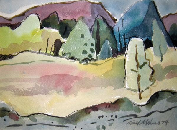 Carl Molno, Mountain, Trees, Meadow, 1974.