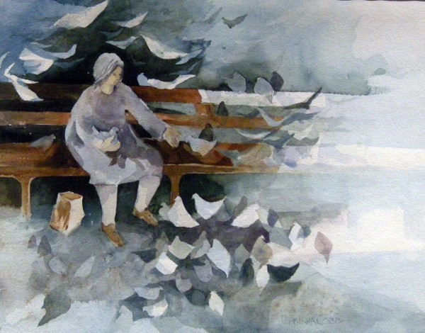 Virginia Cobb, Lady and Birds, Feeding Time, Woman Alone.