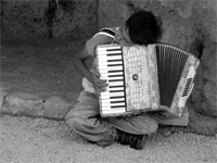 Small boy with an accordion