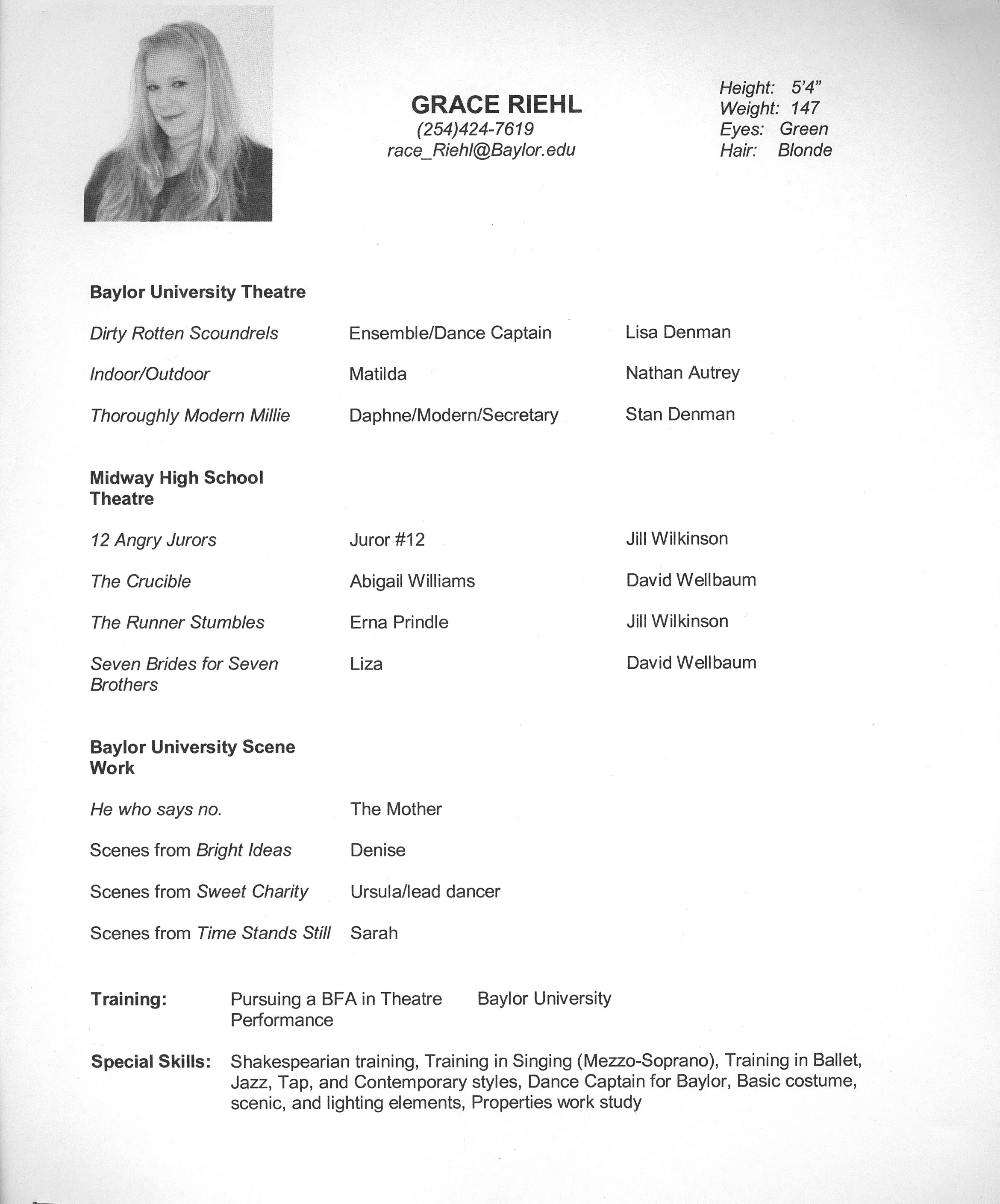 headshot resume examples
