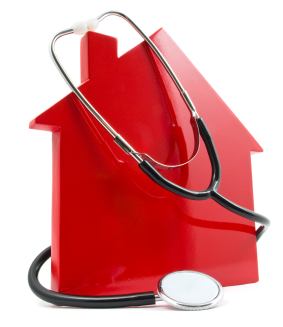 Stock graphic of a house with a stethoscope