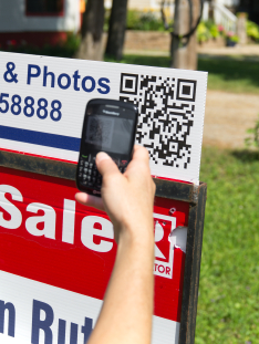 Stock photo of qr code on a for sale sign