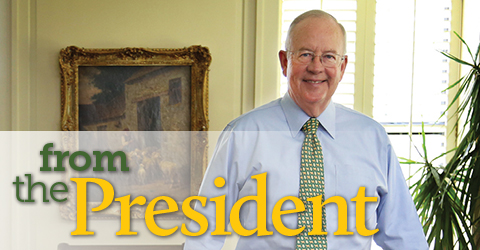 Photo of Ken Starr and text treatment of section title, From the President
