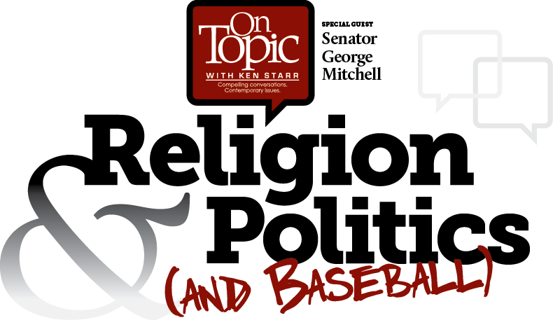 title text treatment: Religion and Politics and Baseball