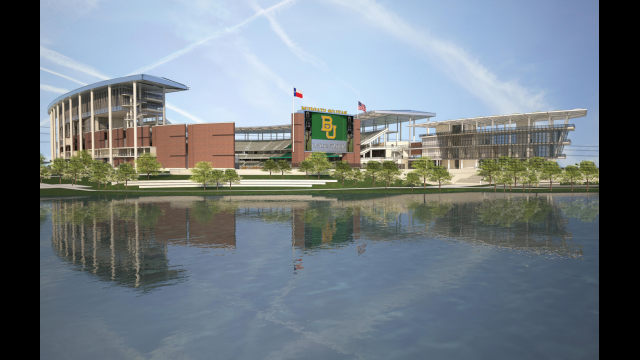 Architectural Rendering: Alumni Events Center, Baylor Stadium, River View