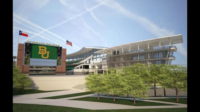 Architectural Rendering: Alumni Events Center, Baylor Stadium, Close Up