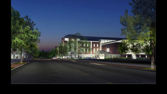 Architectural Rendering: HSB Foster Campus Exterior NE view from 3rd and Bagby