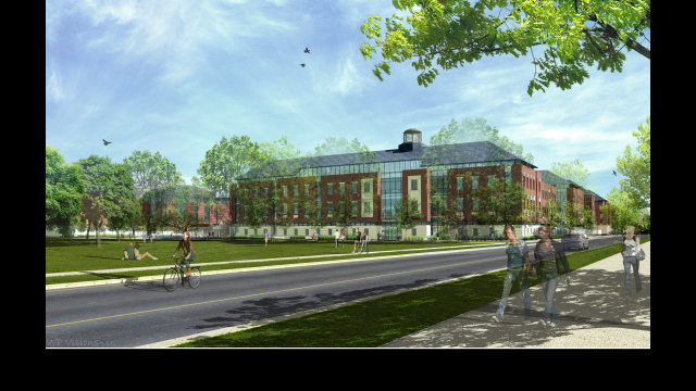 Architectural Rendering: HSB Foster Campus Exterior SW view from Speight Parking Garage