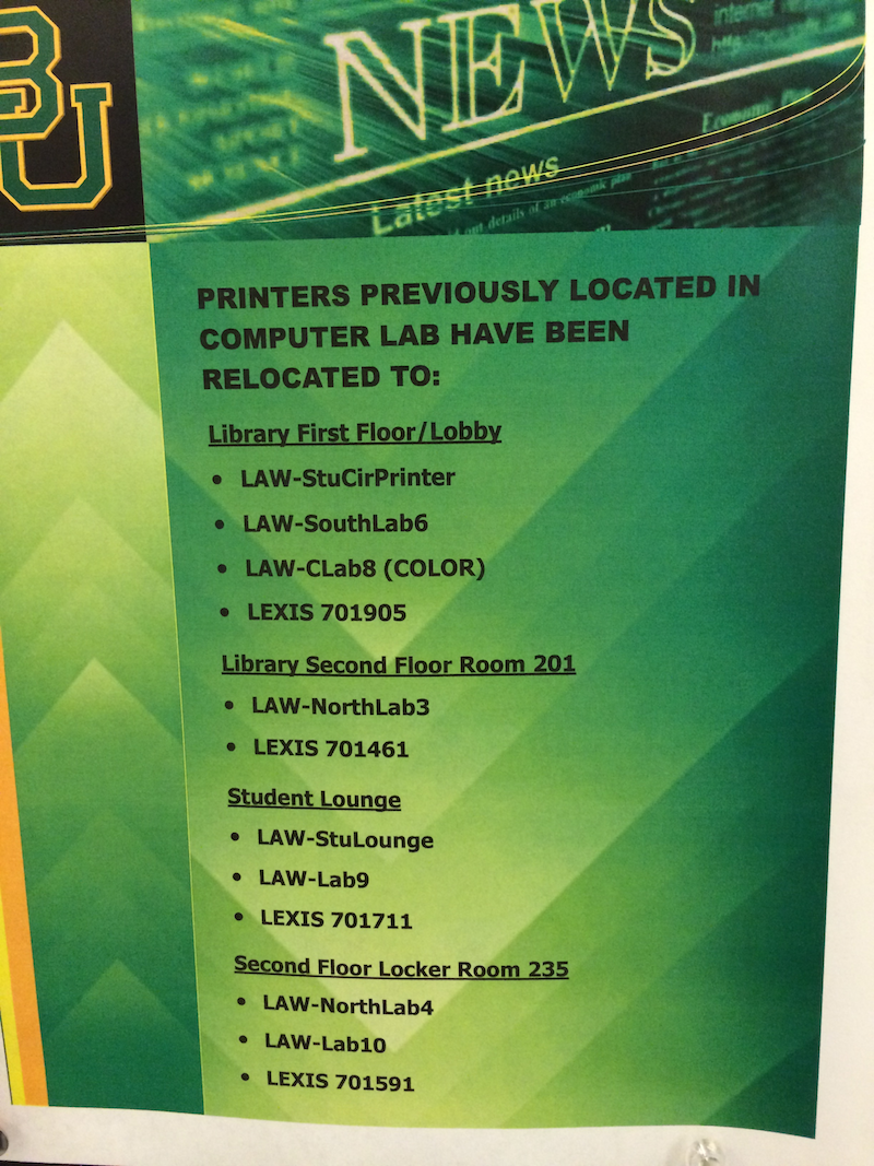 Lab Printer Locations