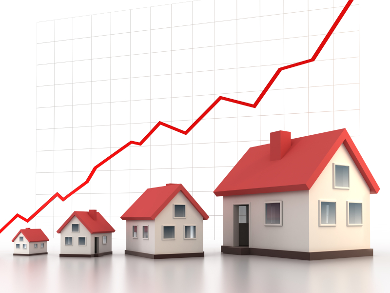 Stock photo graphic of rising house prices