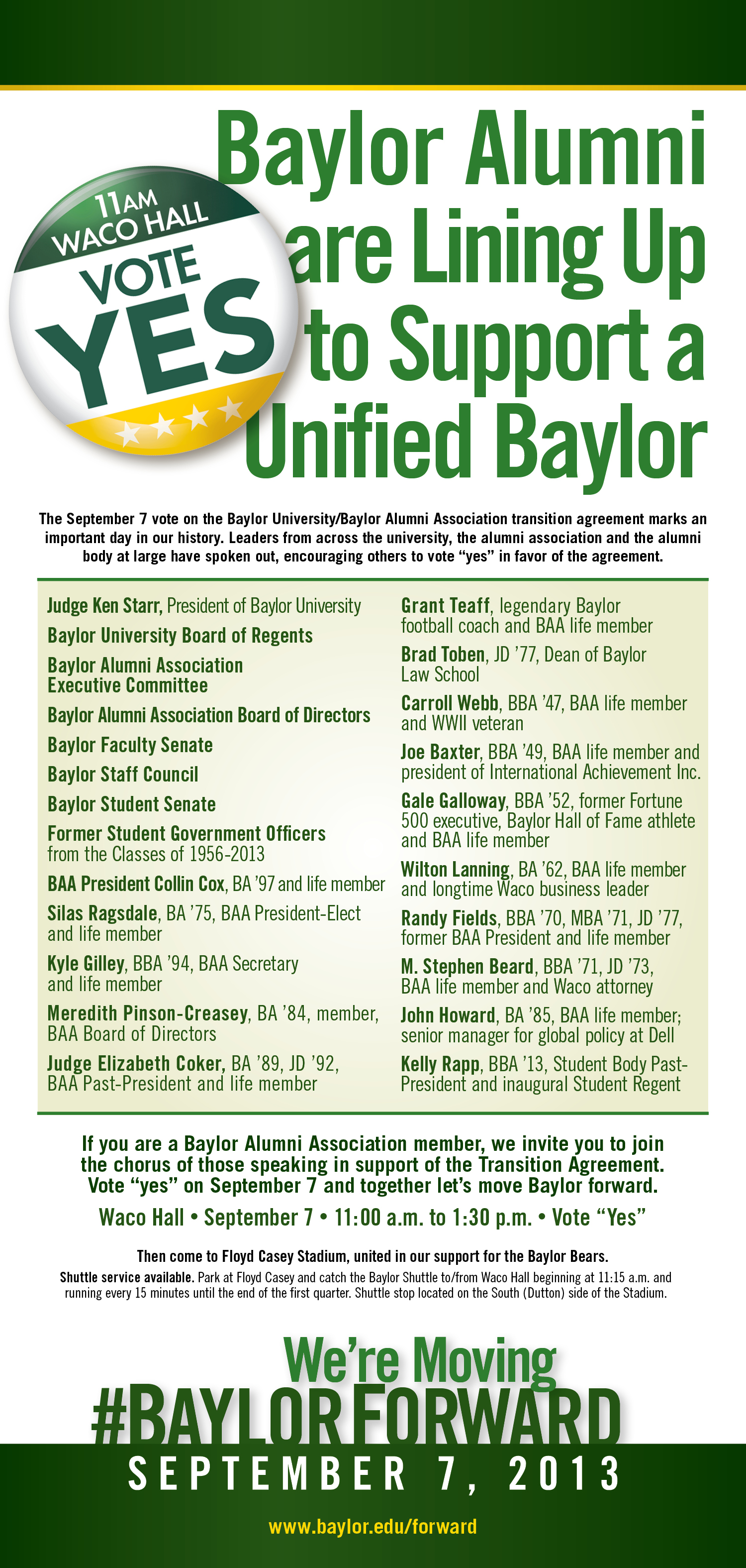 Baylor Alumni Support Unified Baylor