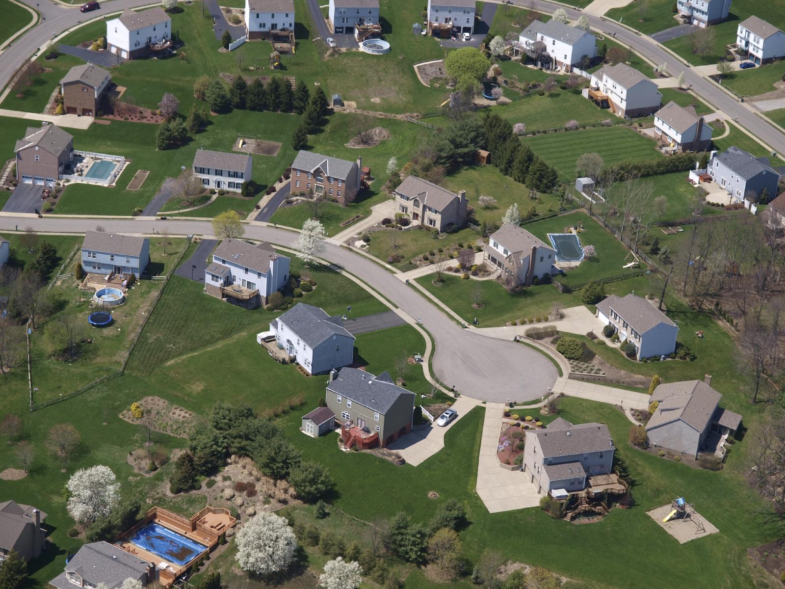 Stock aerial photo of a neighborhood