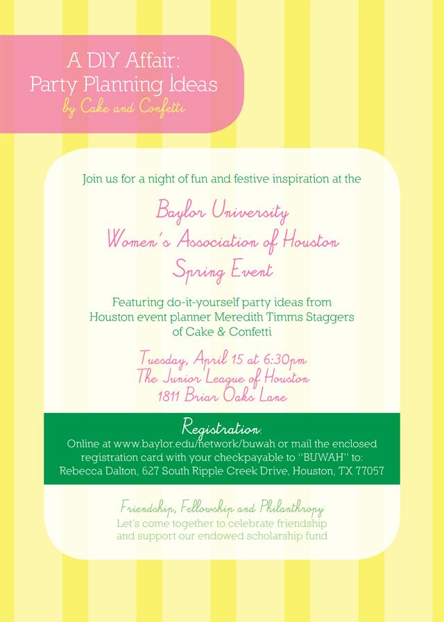 2014 BUWAH Spring Event Invite