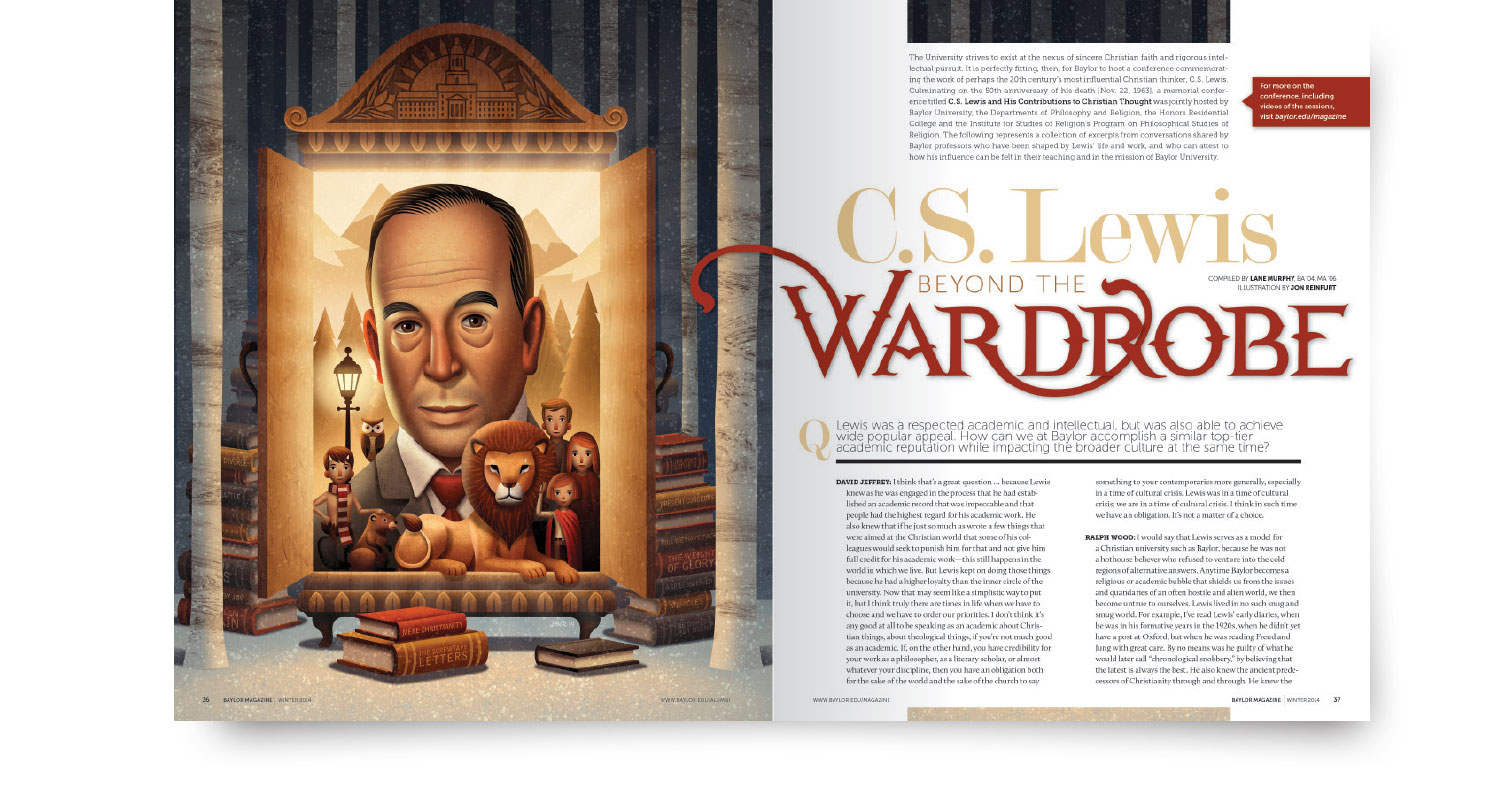 visual presentation of Baylor Magazine, artistic treatment of cover story on C.S. Lewis