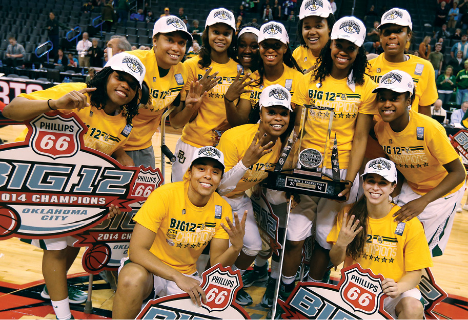 Group Photo of Women's Basketball Team after winning the Big 12 Championship