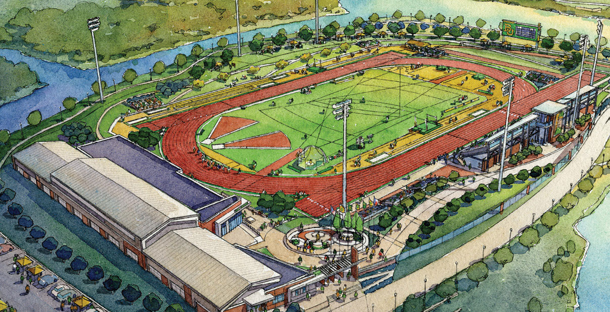 artistic rendering of the new field and stadium