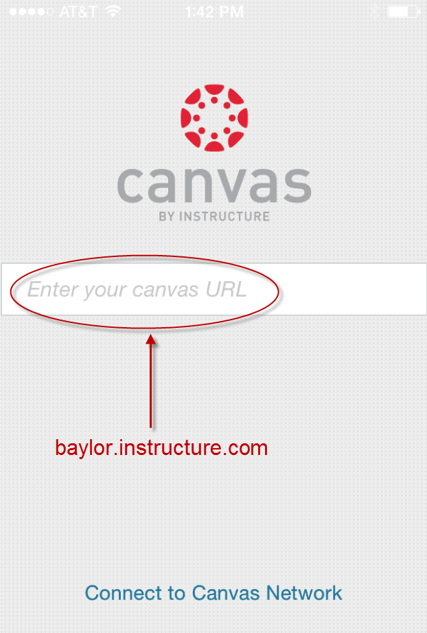 Canvas Mobile login screen