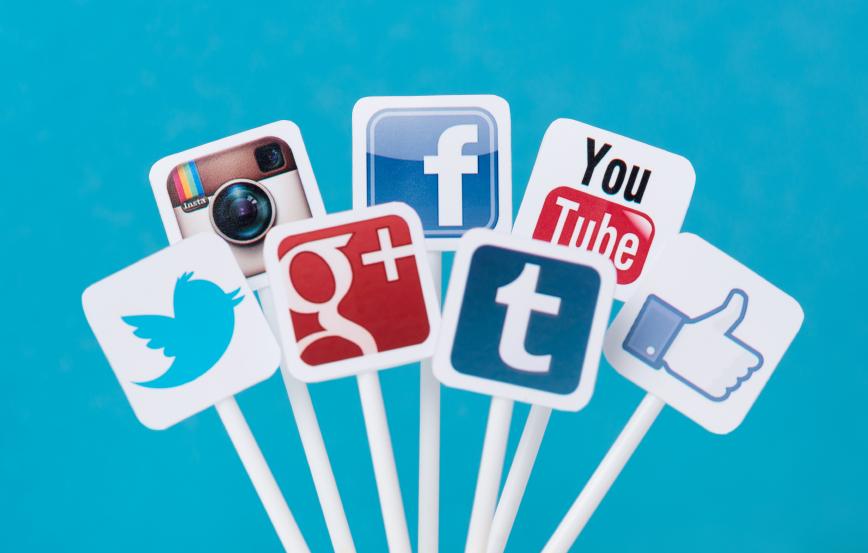 Stock graphic represenatation of social media channels