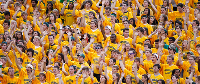 The Baylor Line, all clad in gold, shows their excitement