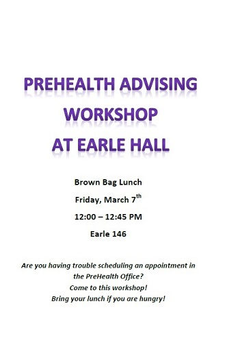 EARLE PreHealth Workshop  400 x 500