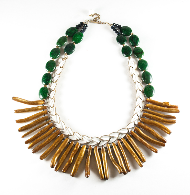 Gala 2015- green and brown necklace