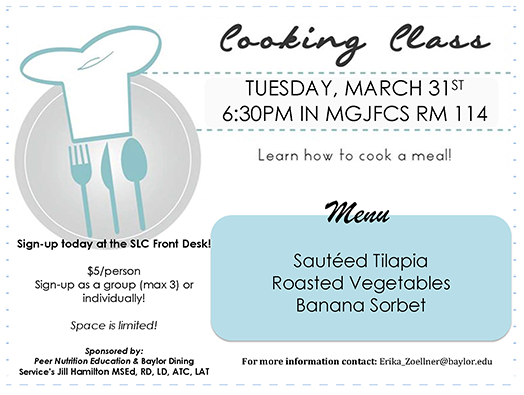 Cooking Class Informational Flyer