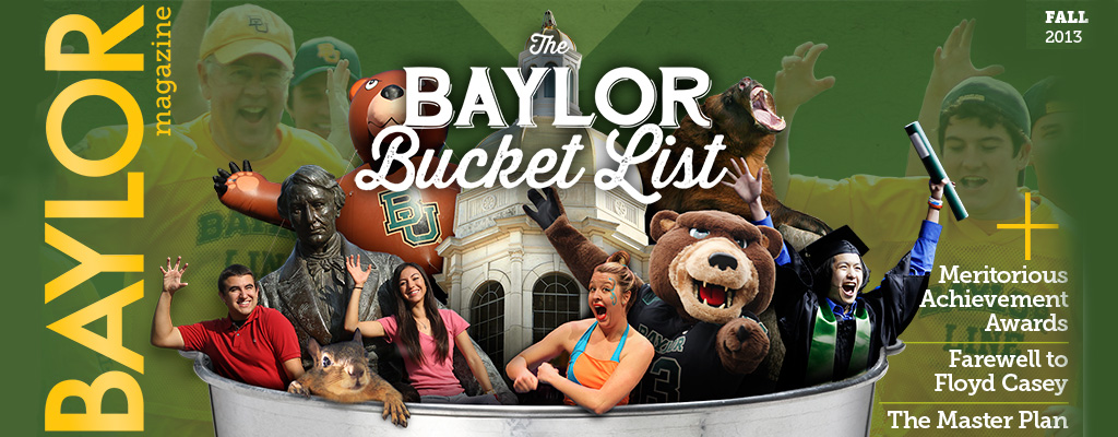 Collage of Baylor things in a title banner - Baylor Bucket List