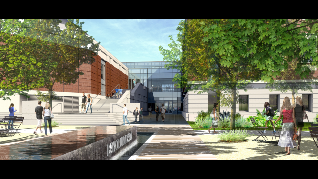 Foster Campus rendering SW entry
